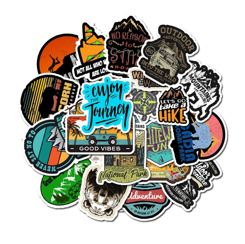 50 Pcs Travel Camping Nature Stickers Waterproof Set For Bumper Skateboard Laptop Car Funny Cute Decals Suitcase Stickers Gift
