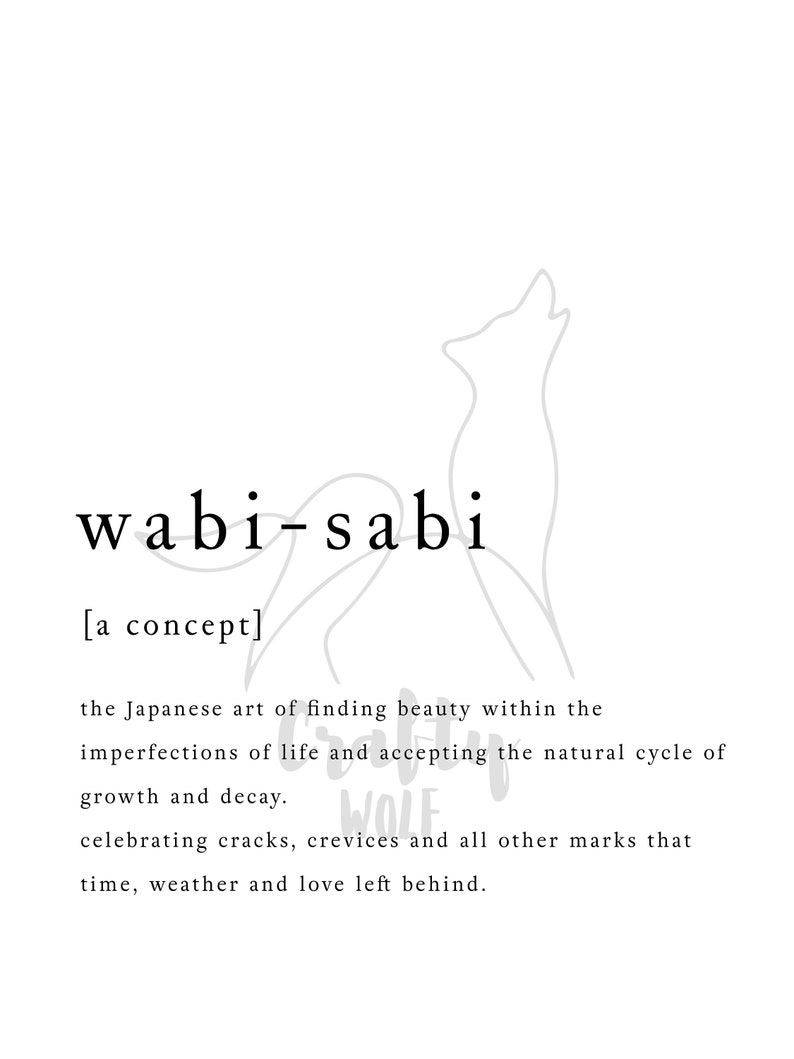 Wabi-Sabi Japanese Concept | Modern Definition | Type Printable | Poster  Inspirational | Art Typography | Monochrome | Digital Download