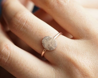 Husband Memorial Jewelry Personalized Ring For Women Promise Rings For Couples Ring Fingerprint Jewelry Fingerprint Ring Between Finger