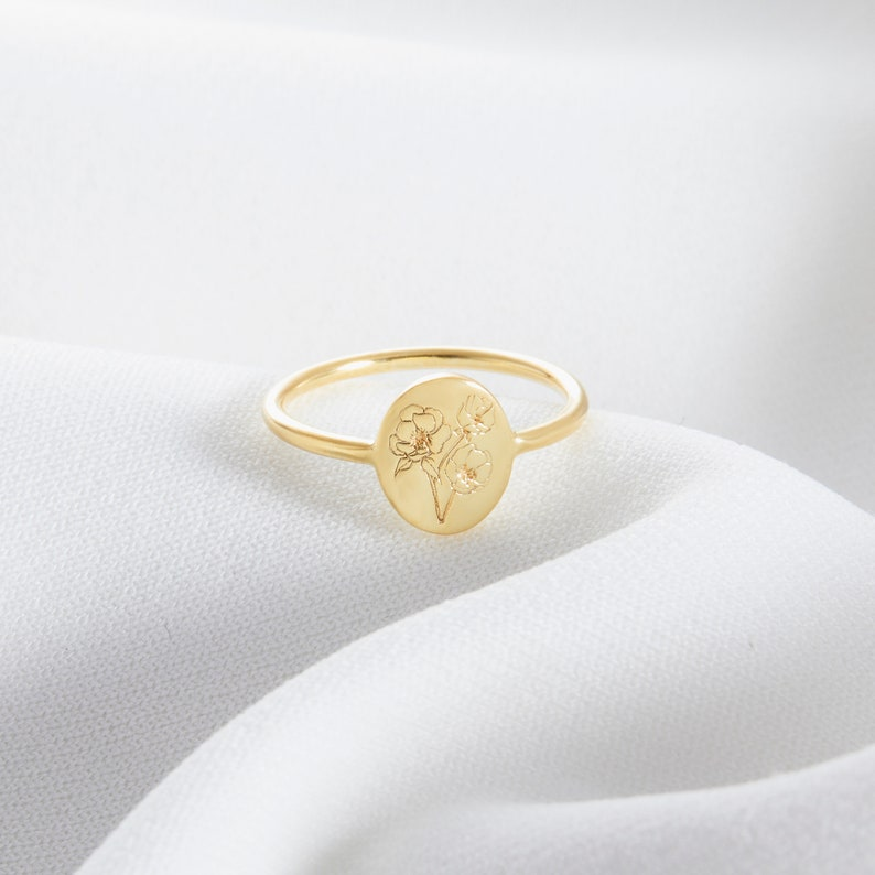 Personalized Birth Flower Ring  Custom Dainty Ring  Everyday image 1