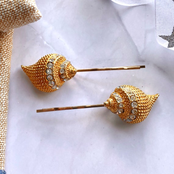 6 Gold Bridal  Bridesmaid Hairpins Set of 6 Turquoise Rhinestone Gold Hairpins