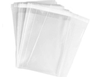 7 SIZES 100pc Clear Sealing Flat Cello/Cellophane Treat Bag Packaging Bags with Adhesive Closure Good for Snacks Bakery Cookies Candies