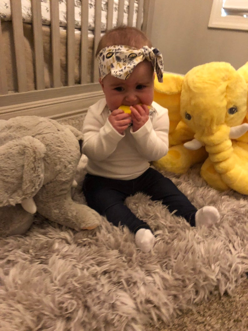 Baby Bandana Bib with Teether and Matching HeadbandBow Gift Set