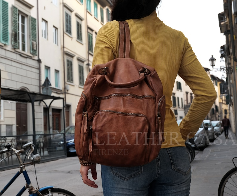Red Vintage Leather Backpack,Soft Leather Bag,Leather Bag Women,Women Backpack,Italian Leather Bag,Italian Leather Handbags