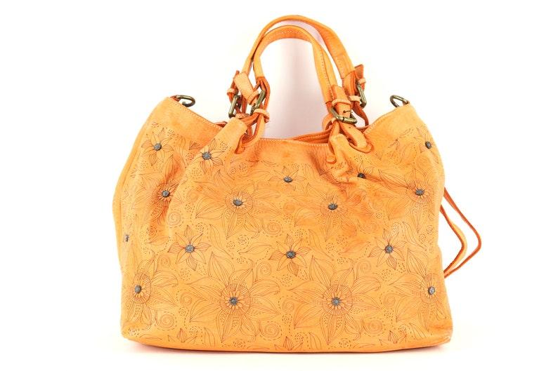 beb5639f062ca0 Yellow Vintage Leather BagItalian LeatherItalian Leather | Etsy