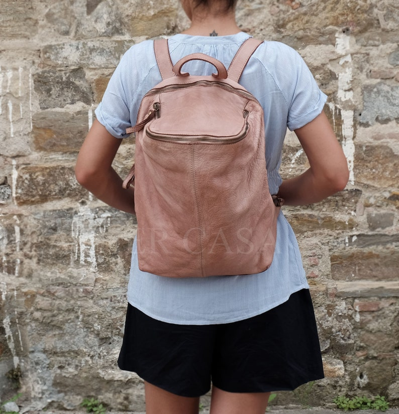 Beige Vintage Leather Backpack,Italian Leather Bag,Soft Leather Bag,Leather Bag Women,Leather Purse Backpack,Italian Leather Handbags