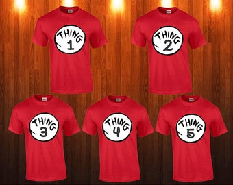 a88ecb34014a Dr Suess. Cat In The Hat Thing 1, 2, 3, 4, 5 Kids Adults Red Unisex T-Shirt  Tee