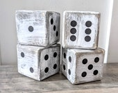 Giant Wooden Dice, Vintage, Flea Market, Lawn Dice, Distressed Accent Pieces, White, Black or Gray