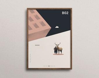 Beyond the Sun (Art Print): Minimal Art. Modern Poster. Art Print. Geometrical Art. On structured art paper.
