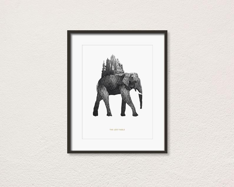 Elephant Kingdom Kunstdruck: Minimal Art. Modern Poster. Art image 0