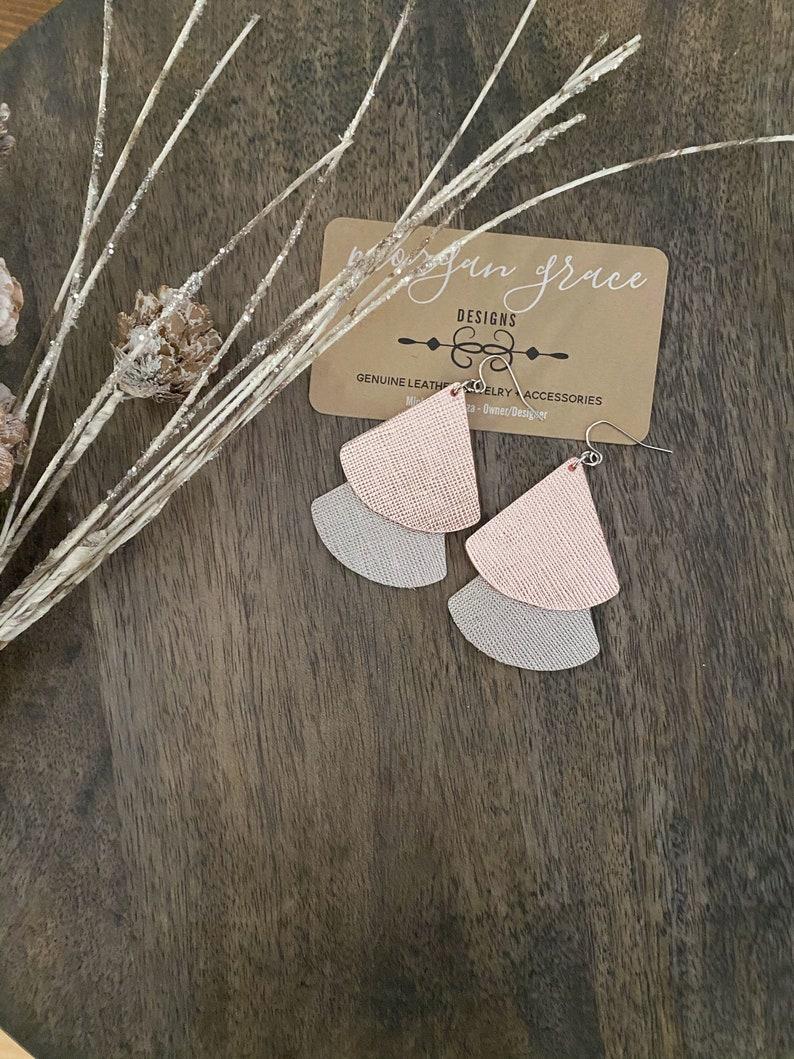 Rose Gold Gunmetal Silver Metallic Leather Layered Earrings Layered Boho Leather Earrings Boho Dangles