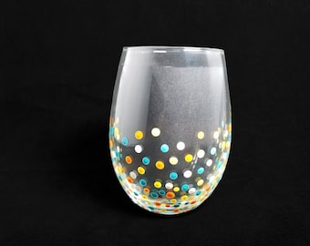 Handpainted Polka Dotted Stemless Wine Glass  Bright Pink Anchor  Single Glass Also Available As a Ceramic Mug