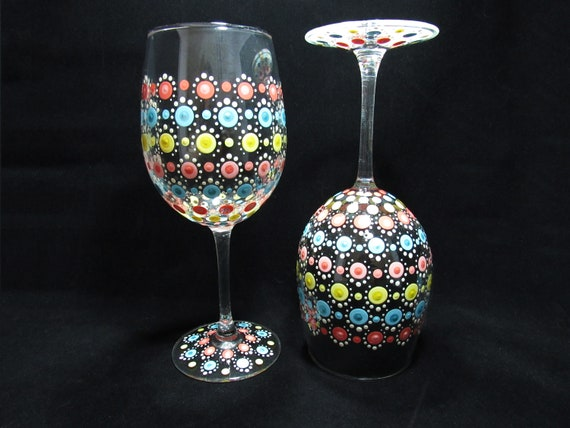 Hand Painted Wine Glasses New Home Gift For Friend Etsy