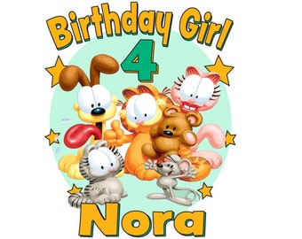 Custom Personalized Garfield Gang Birthday Girl Or Boy T Shirt Creeper0nesie Made With The Name You Provide