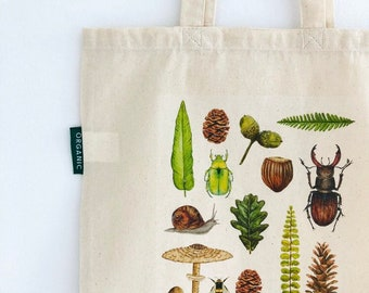 Nature Finds Organic Cotton Tote Bag, Eco Friendly, Shopping bag