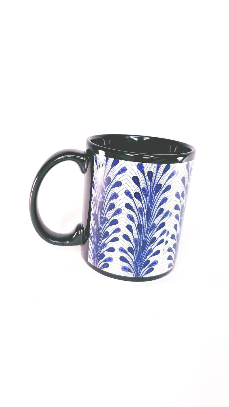 Ankara Print Mug BlueRed Peacock