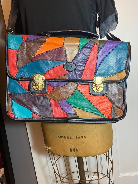 80's patchwork leather work/laptop bag
