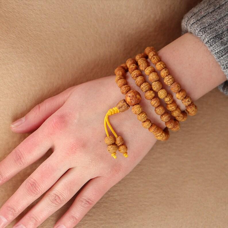 HANDMADE Tibetan Jujube 108 Wooden Mala Beads Meditation Prayer