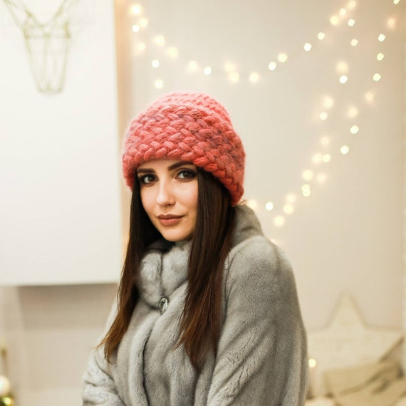 Coral Mohair Crochet Hat Women Accessories Winter Hat Gift For  832e14f7aac