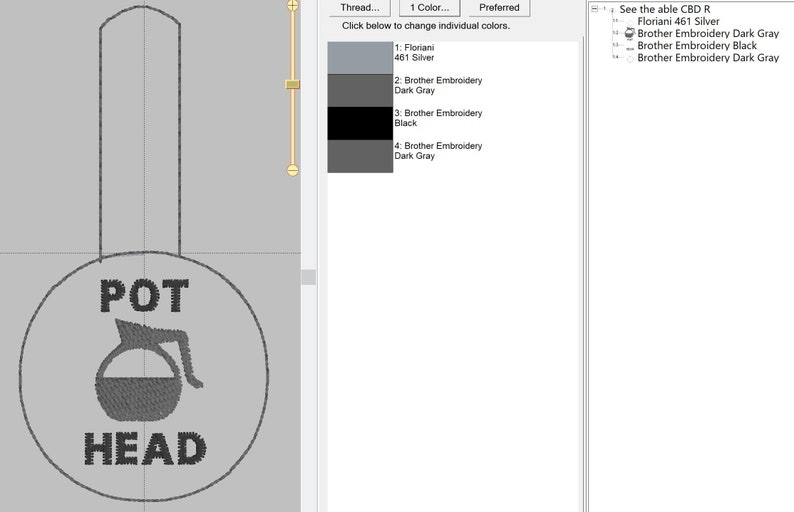 Coffee Pot Head key fob ~ Great conversation starter ~ digital embroidery file 4x4 I AM 79/%