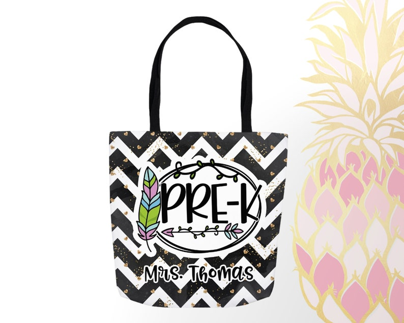 Back To School Great Teacher Gifts Elementary School Teacher Tote Bag Black Chevron With Feather Teacher Gift Personalized