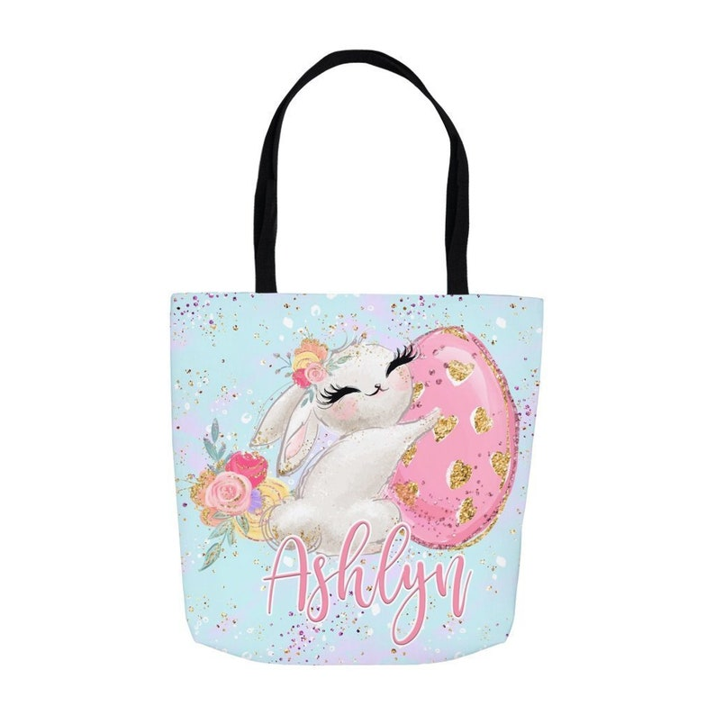 Personalized Easter Tote Tote Bag Perfect For Easter Morning  Egg Hunts Custom Easter Basket