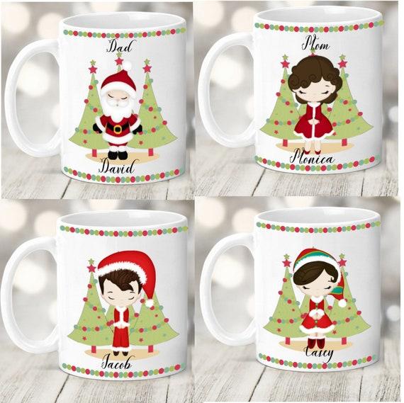Family Christmas Mugs, Personalized Mugs for Christmas, Custom Mug Set,  Family Gift Idea, Christmas Eve Mugs,Christmas Mugs,