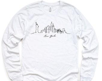 New York Long Sleeve Shirt, New York Shirt, New York NY Shirt, New York, New York City Skyline, Graphic Tee Tumblr, Womens Shirt, Unisex