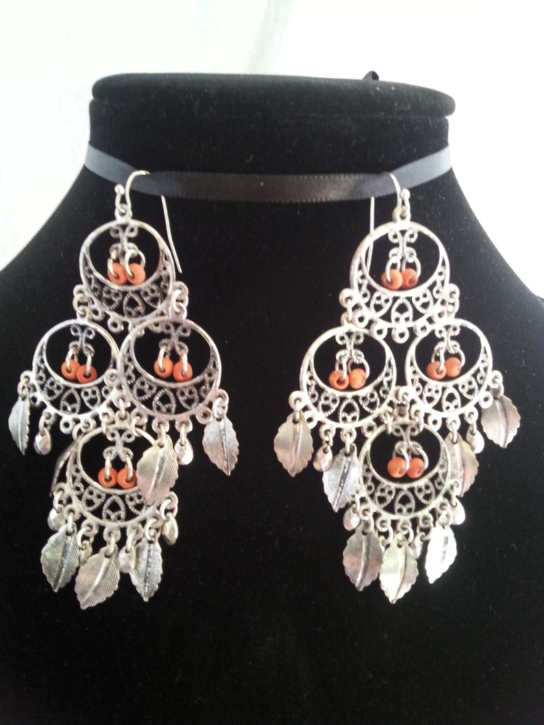Silver Chandelier Earrings Gypsy Vintage BohoHippie Leaf Charms Soft Faded Red Beads,Large Dangle 3.75 Inch Native American