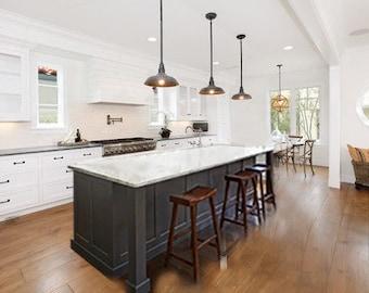 7ft gray kitchen island with white Carrara quartz top(Custom welcome)