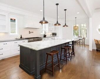 6ft gray kitchen island with white Carrara quartz top(Custom welcome)