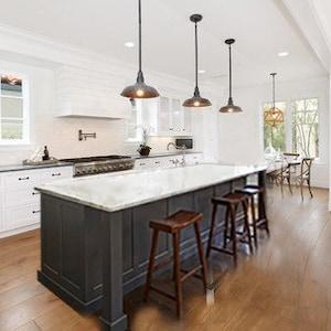7ft Gray Kitchen Island With White Carrara Quartz Topcustom Etsy