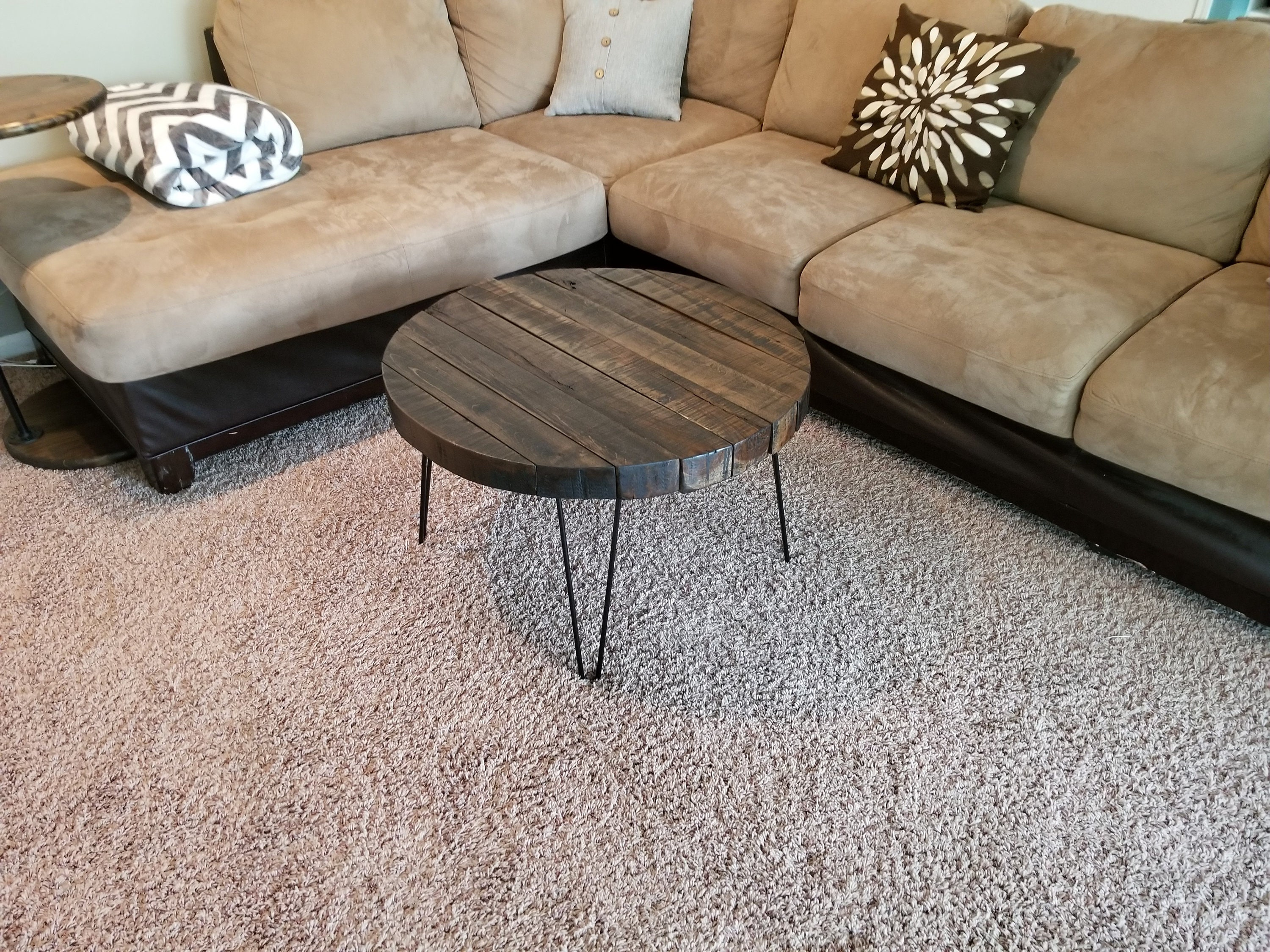 Reclaimed Wood Round Coffee Table With Hairpin Legs