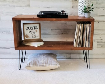Record Player Stand with Vinyl Storage