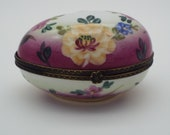 Limoges Floral Hinged Egg Shaped Trinket