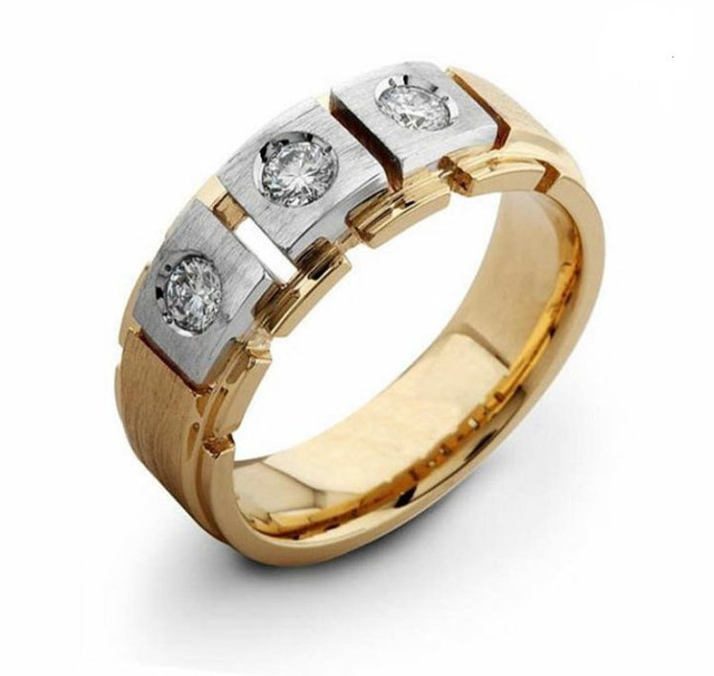b86c66205ef6c Men's Band SI H 0.30Ct Real Diamond Ring 14Kt White Gold/Yellow Gold/Rose  Gold With Authenticate Certificate For Father's Day