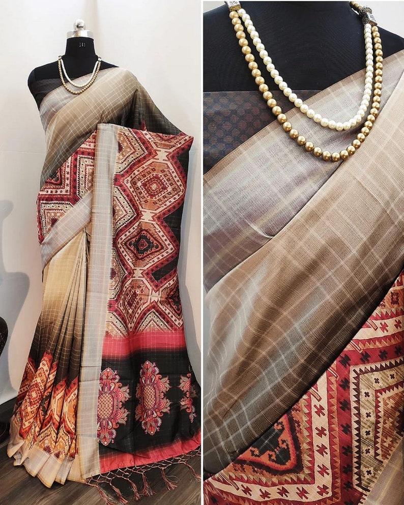 Tushar Silk Saree Digital Floral Print Designer Partywear Sari with Blouse indian Ethnic Wear for women