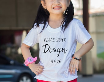 Download Free T-shirt Mockup, Styled Stock Photo, Kids White T-shirt, Hi-res JPG file PSD Template
