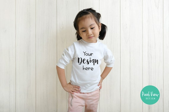 Girls T Shirt Mockup Kids White Long Sleeves Top Casual Style Etsy