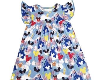 ef89addbcbba Disney World Inspired Milk Silk Flutter Dress