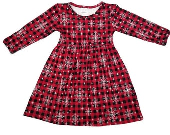 fecce0c79698 Girls/Toddler Buffalo Check Snowflake Long Sleeve Milk Silk Dress! Wrinkle  Free! Fast Same Day Shipping! Gorgeous. Holiday Dress!