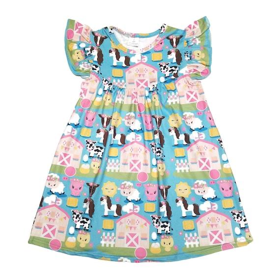 Farm Flutter Milk Silk Dress