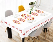 Vintage Pyrex Friendship Inspired Tablecloth Red Bird Tablecloth Red Yellow Floral Tablecloth Retro Tablecloth Chicken Tablecloth