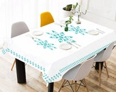 Vintage Pyrex Atomic Eyes Inspired Tablecloth Retro Tablecloth Mid Century Modern Tablecloth Atomic Starburst Tablecloth