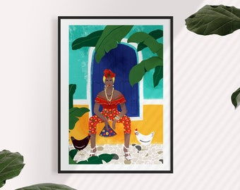 Femme au cigare A5, A4 and A3 art print, female, cuba, havana, travel, cigare, amazing, gift women, strong girl, girl boss, turquoise