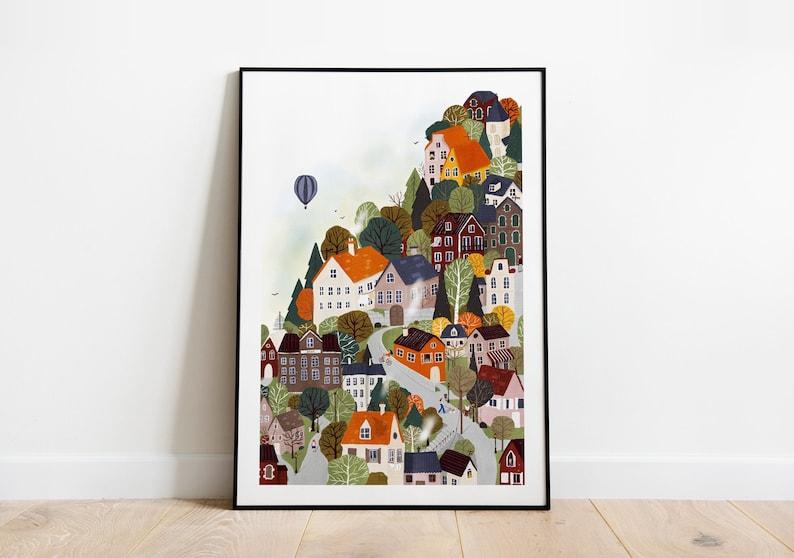 Forrest city A5 A4 and A3 art print home decor landscape image 0
