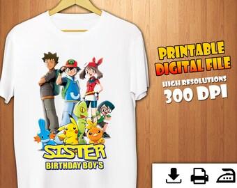 c08c281a Pokemon Iron On Transfer, Pokemon Birthday Shirt Iron On Transfer, Pokemon  Sister Instant Download, Digital Printable