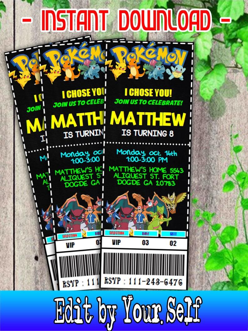 Pokemon Ticket Invitation Birthday Editable PDF