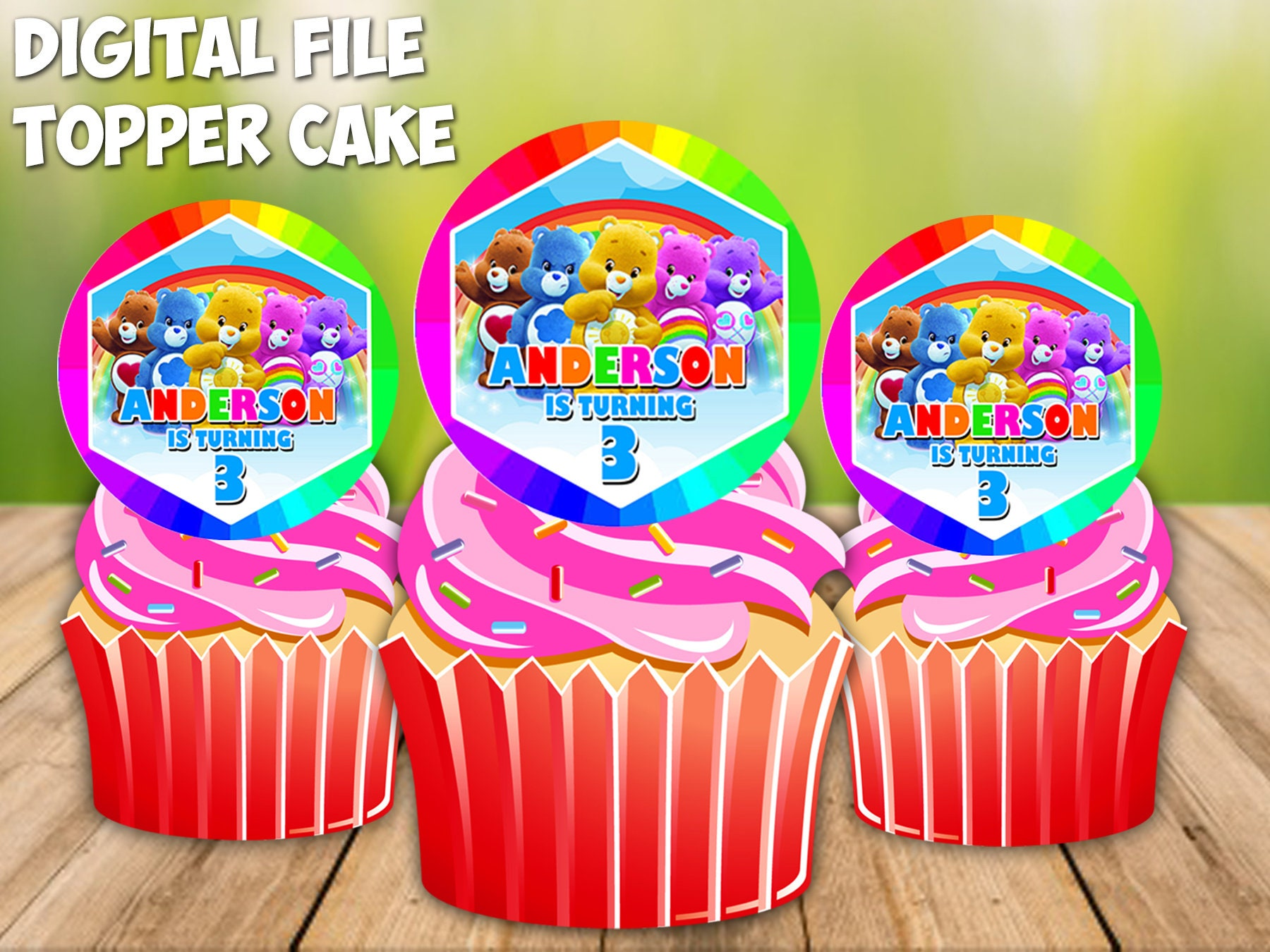 Cool Care Bears Cupcake Toppers Care Bears Birthday Cake Toppers Etsy Birthday Cards Printable Benkemecafe Filternl