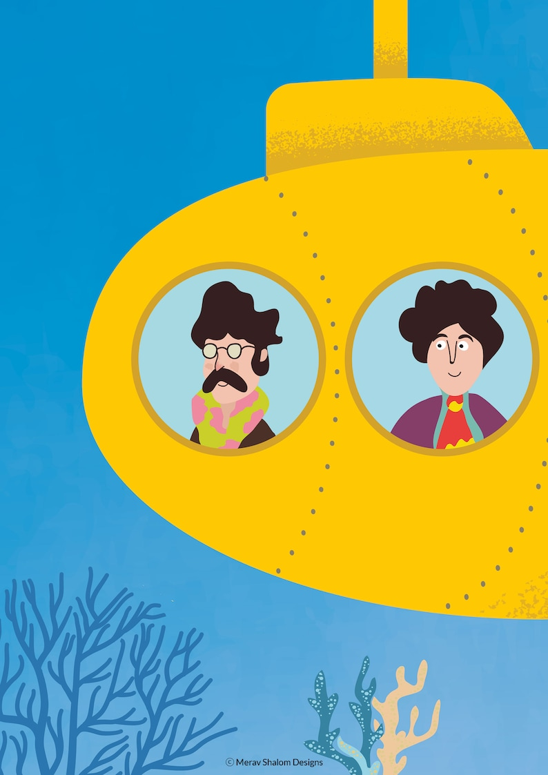 The Beatles Poster Yellow Submarine print for children
